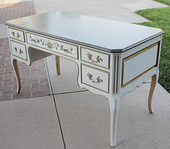 White And Gold Trim French Country Provincial Large Writing Desk Large Writing Desk French Country French Country Writing Desk