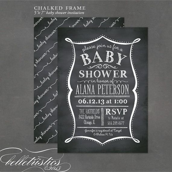 Printable Baby Shower Invitation - Chalkboard Invitation, DIY - chalk board invitation template