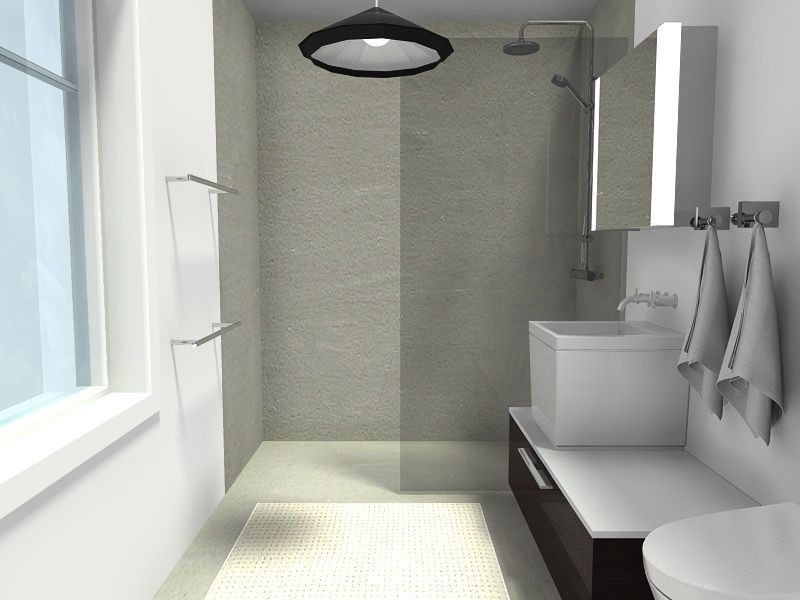 Curbless Bathroom Shower with Glass Panel 26