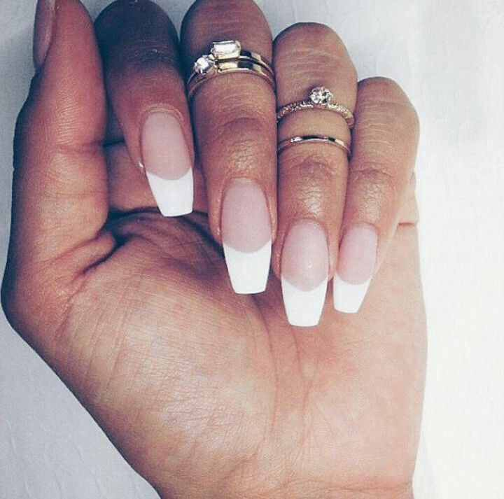Classic French // Coffin Style | French tip acrylic nails ...