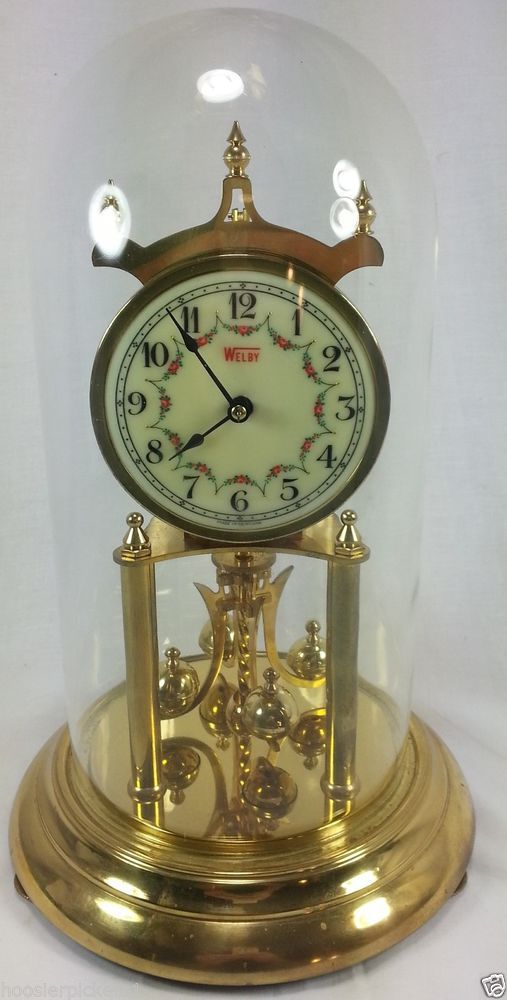 Welby German Brass 400 Day Anniversary Clock Porcelain