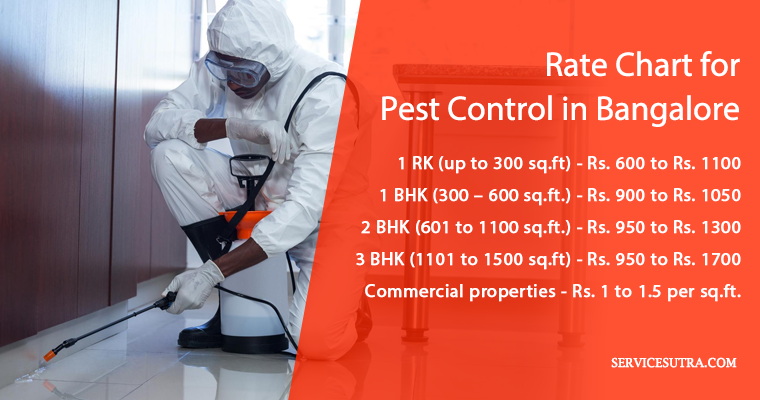 Price and Rates Chart for Pest Control in Bangalore
