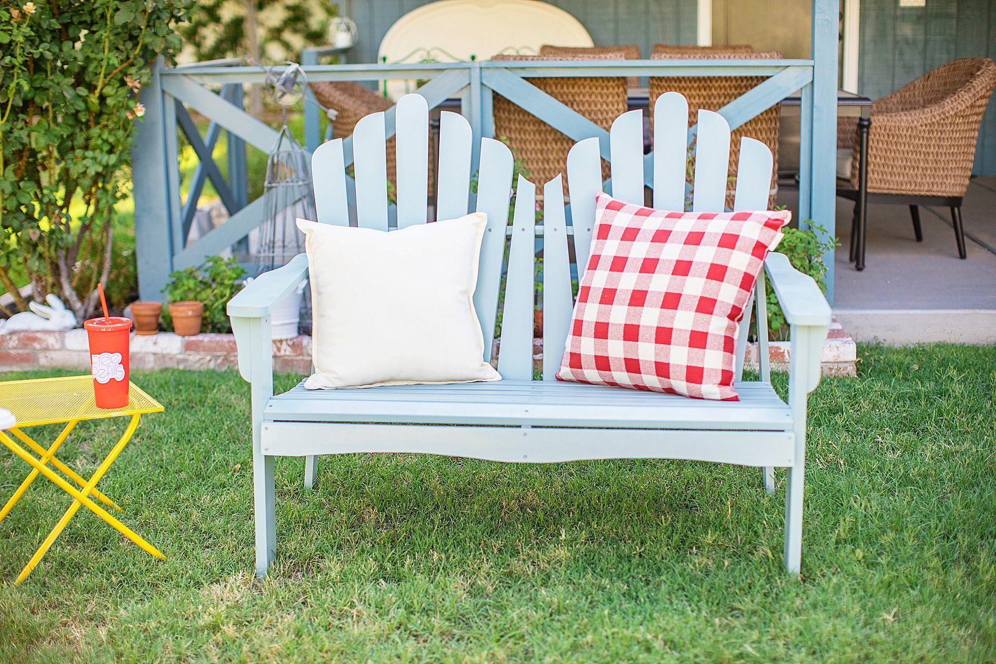 garden bench soft light blue from Wayfair backyard entertaining