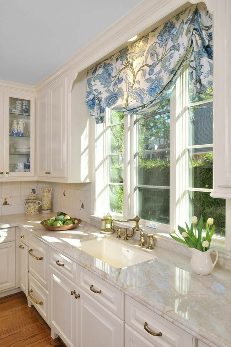 Window treatment ideas for above kitchen sink  like the decorative moulding above window  cocinas  pinterest