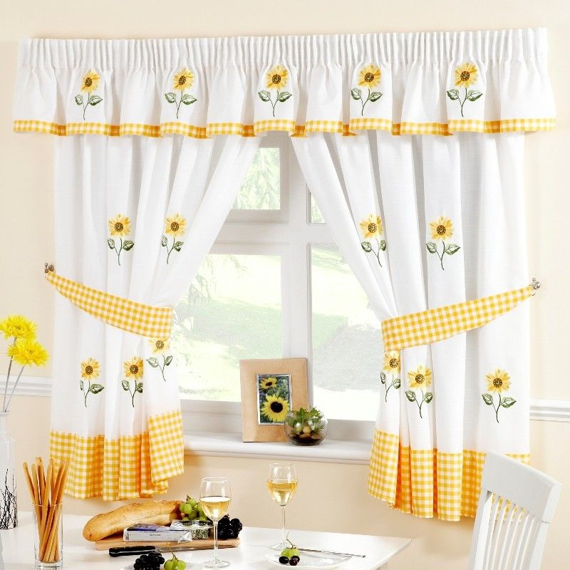 Mix And Match Is The Key To Choose The Right Coffee Curtain For Decorating Your Kitchen You Yellow Kitchen Curtains Sunflower Kitchen Sunflower Kitchen Decor