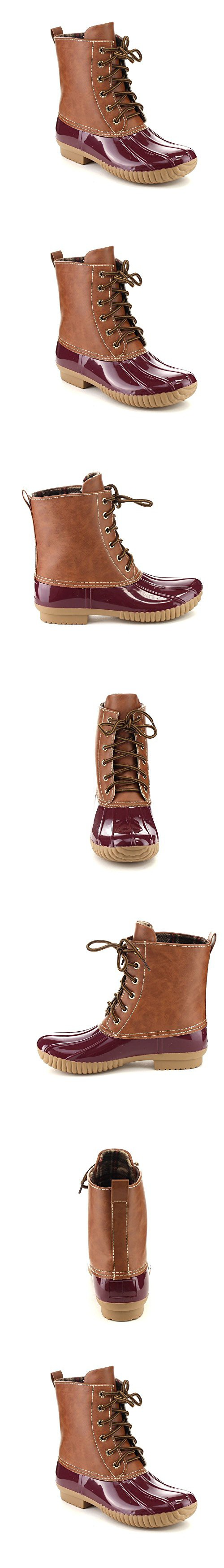 AXNY DYLAN Women's Lace Up Two Tone Calf Rain Duck Boots One Size Small, Color:BORDEAUX, Size:10