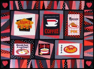 Mom's Diner Quilt Pattern http://www.victorianaquiltdesigns.com/VictorianaQuilters/PatternPage/MomsDiner/MomsDiner.htm #quilting #kitchen #diner #restaurant