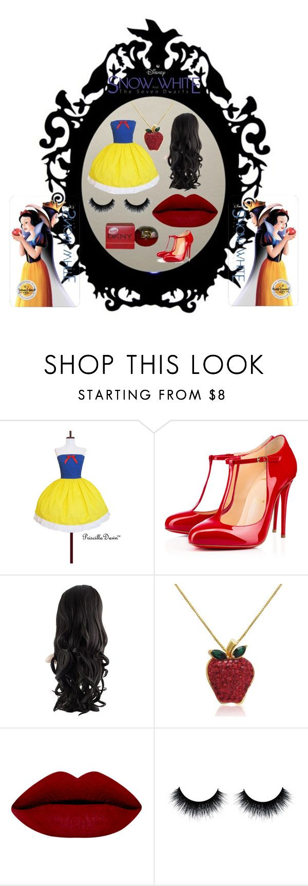 """""""snow white x"""" by dordiek ❤ liked on Polyvore featuring Christian Louboutin, Amanda Rose Collection, DKNY, women's clothing, women's fashion, women, female, woman, misses and juniors"""