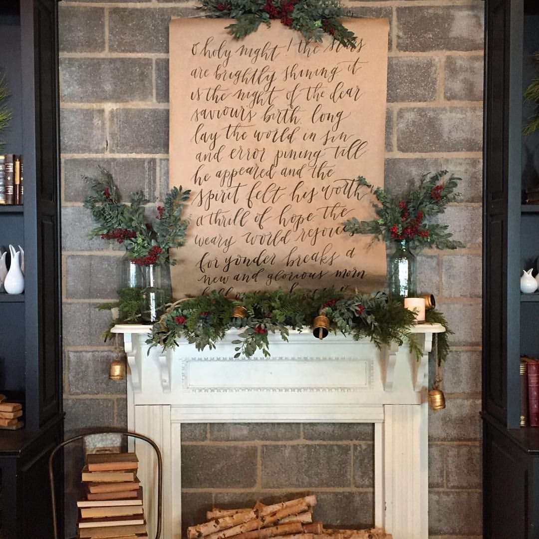 Joanna Gaines Farmhouse Mantel Finishing Up Christmas Details At The Shop Today Up Next