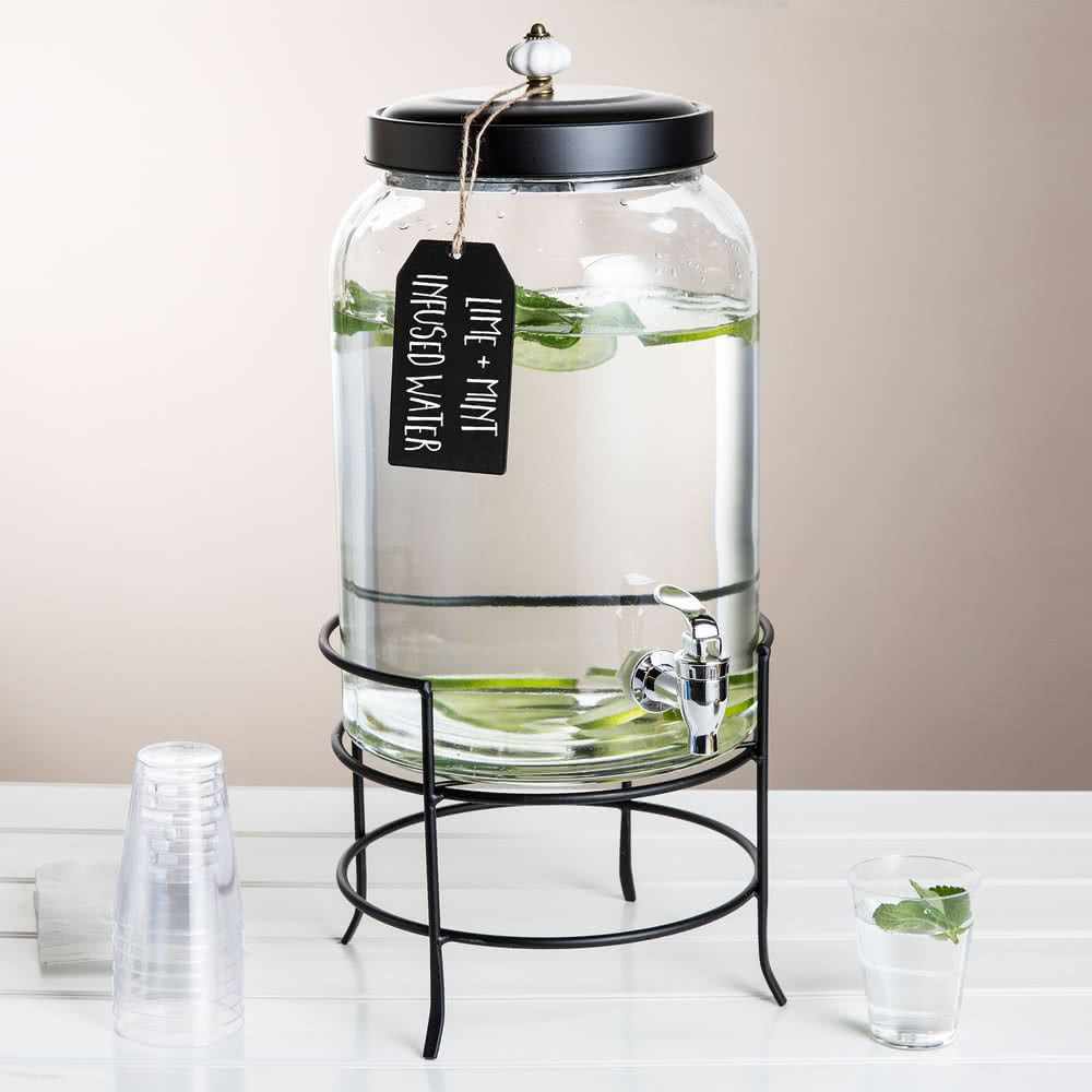 3 Gallon Style Setter Franklin Glass Beverage Dispenser With Metal Stand Glass Water Dispenser Drink Dispenser Glass Beverage Dispenser Glass water dispenser with stand