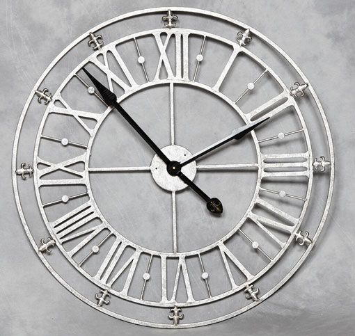 Open Silver Roman Wall Clock Make With A Clock Kit And