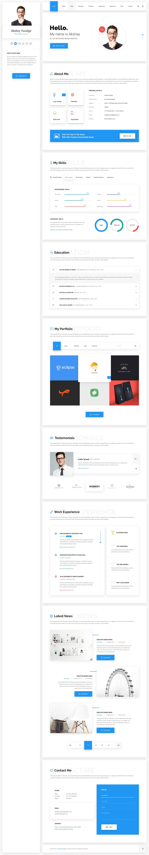 Hello - Resume, CV, vCard & Portfolio Material PSD Template | Resume ...