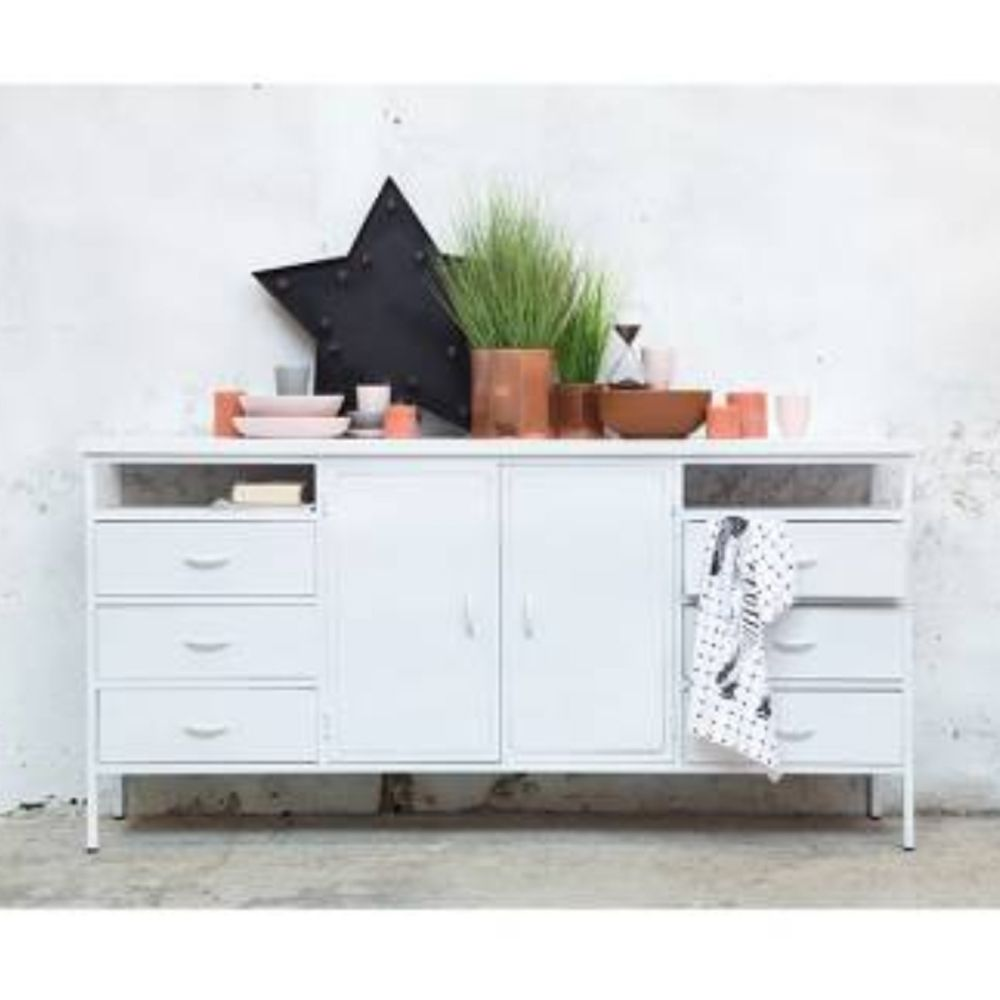 Tv Lowboard Industriedesign Industriedesign Sideboard Dansk 175 Cm Metall Weiß Türen