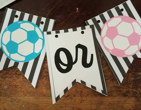 SOCCER Gender Reveal Party Stickers Futbol Baby Shower Sports Team Boy // Girl