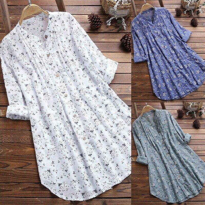 Womens V-Neck Pleated Floral Print Long Sleeve Casual Tops T-Shirt Blouse Loose T-Shirt Mini Dress