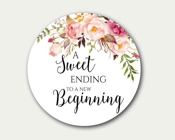 Wedding Favor Tag A Sweet Ending To New Beginning Floral Labels 25 Inch Candy Buffet Label Tags