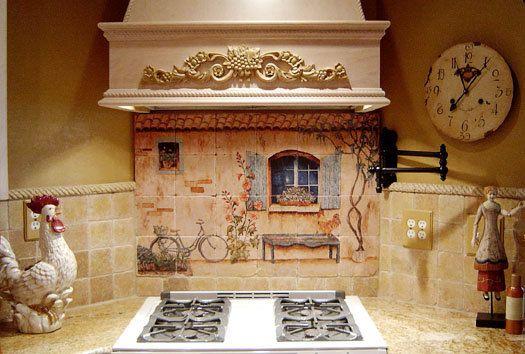 French Country Kitchen Backsplash Tile Mural