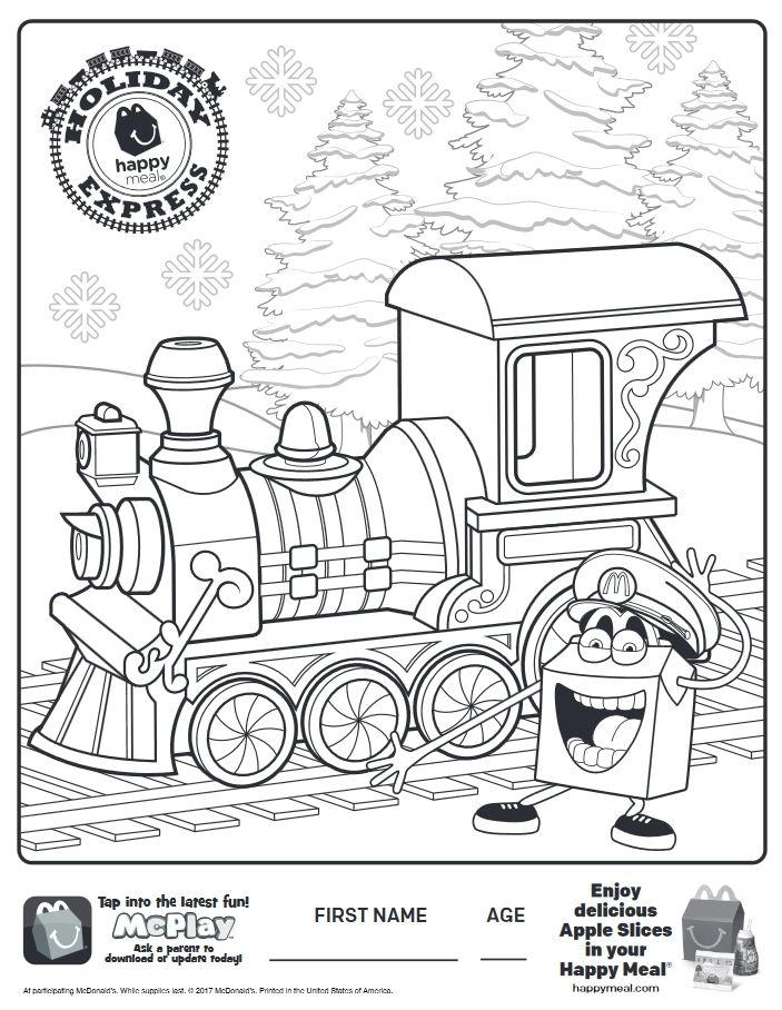 mcdonalds happy meal coloring pages - here is the happy meal holiday express coloring page