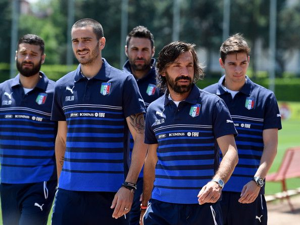 Andrea Pirlo (R) and Leonardo Bonucci of Italy during a training session at Coverciano on June 2, 2014 in Florence, Italy.