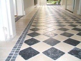 Zwart Witte Tegels : Zwart wit tegels dambord vloer beige marmer hardsteen