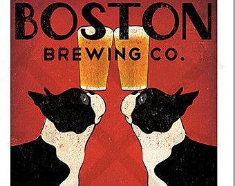 Customize Personalize -- BOSTON Terrier Brewing Co. Beer  ILLUSTRATION Giclee Print signed