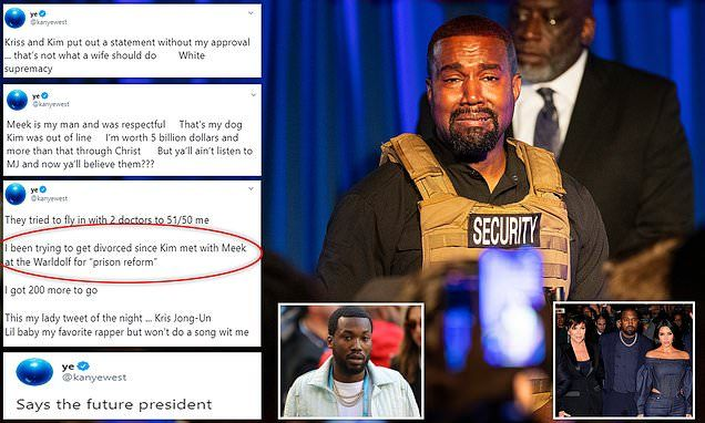 Kanye West Says He Has Been Trying To Divorce Kim In 2020 Kanye West Kim Kim Daily