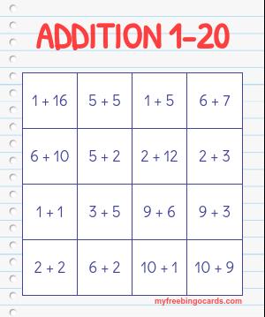 image about Addition Bingo Printable known as higher education bingo playing cards Detective celebration Math bingo, Bingo