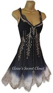 NEW KAREN MILLEN Gatsby Flapper 20's Silk Ombre Beaded Evening Cocktail Dress 10 | eBay