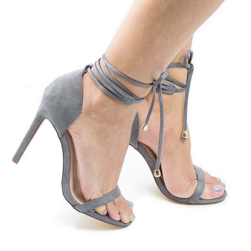 Hilton Gray F-Suede by Olivia Jaymes, Gray Suede Open Toe Leg Wrap Stiletto  High Heel Dress Sandals