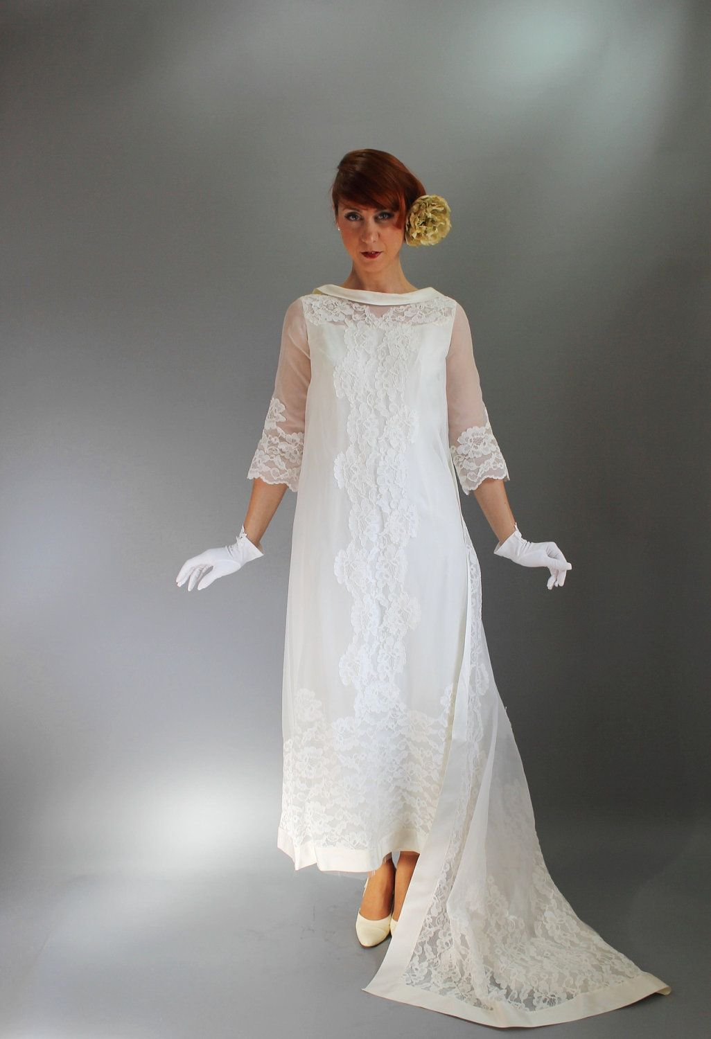 Vintage 1960s Long Lace Wedding Dress. Train. Mad Men