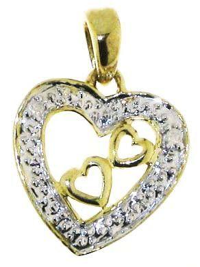 Klassischer 9 Karat (375) Gold Herz Damen – Diamant Anhänger + Kette Brillant-Schliff I-I1 – 15mm*10mm Kette 40 CM | Your #1 Source for Jewe...