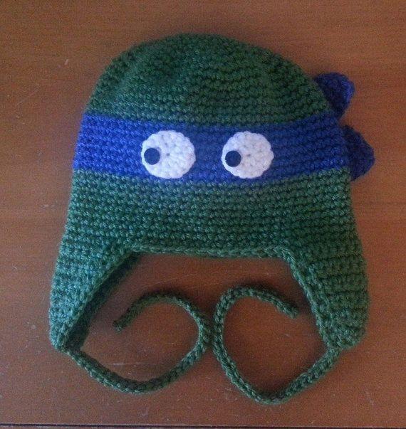 Crocheted Teenage Mutant Ninja Turtles Earflap Hat - Baby, Toddler ...