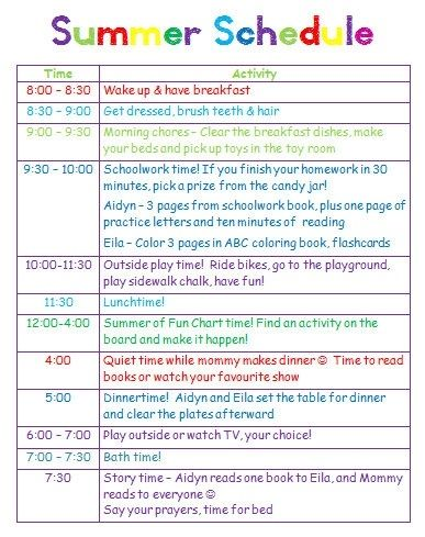Giving kids a schedule for playtime, chores and summer homework by