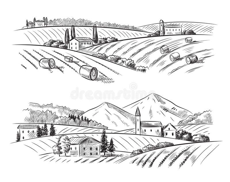 Vector Village Sketch And Nature Vector Hand Drawn Village Houses Sketch And Na Spon Sketch Village Ve How To Draw Hands House Sketch Village Drawing