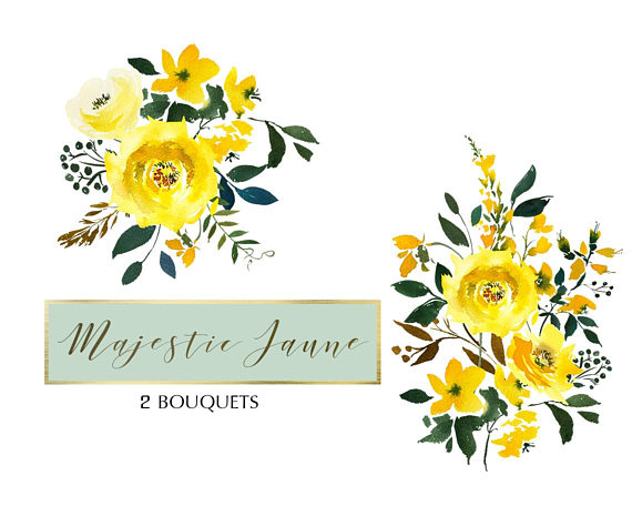 Yellow Watercolor Flowers Roses Clipart Set Wedding Floral
