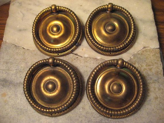 4 antique round brass drop ring style drawer pulls 2 12 inch