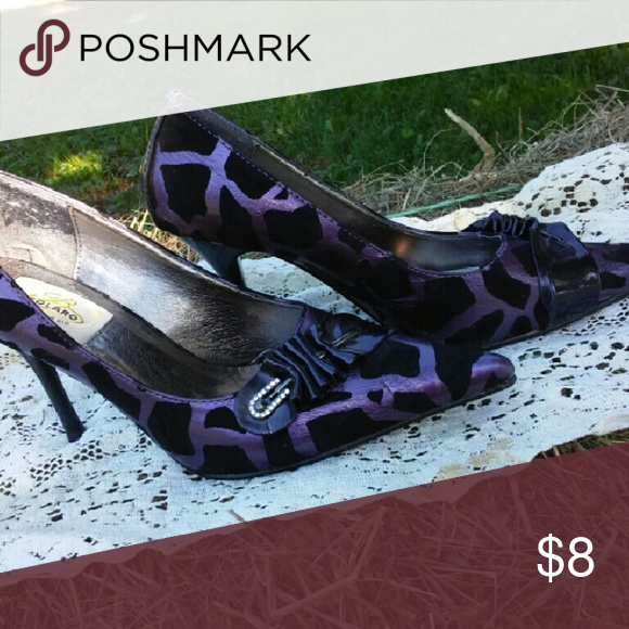 Bolaro black and purple pumps Gently used black and purple pumps.  Pointed toe. Shoes Heels