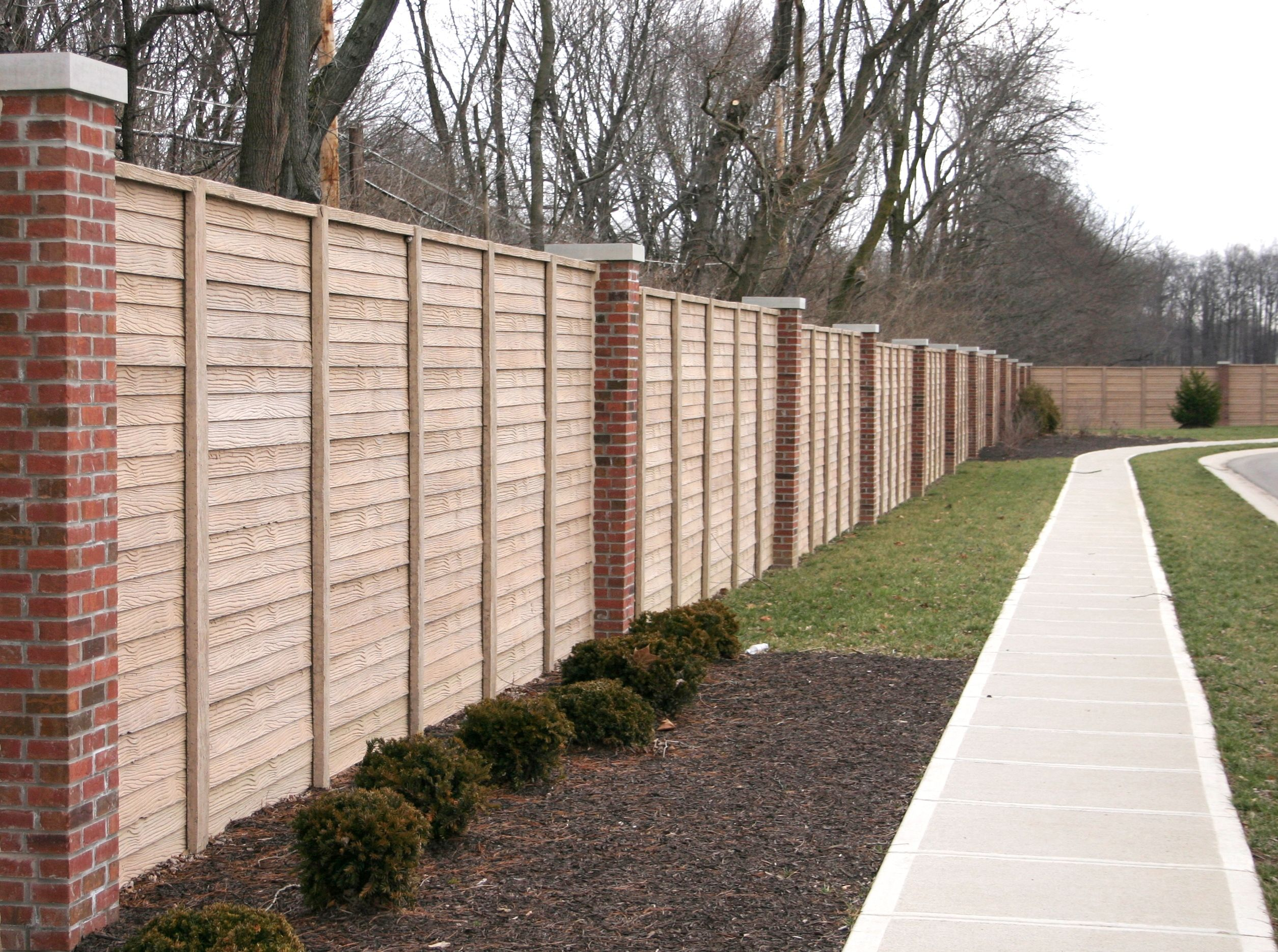 Concrete screen fence fences wood fences and bricks for Wood screen fence