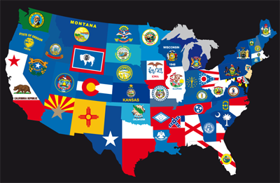 Usa State Flags Usa 50 States Us States Usa Flag - Us-map-with-state-flags