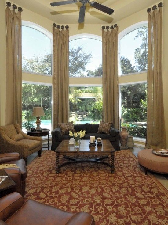 Living room draperies and window treatments design - Living room picture window treatments ...