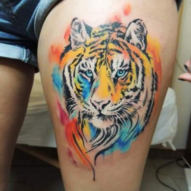 Beautiful Tiger Tattoo Design On Thigh: Watercolor Tiger Thigh Tattoo By @gianpitat
