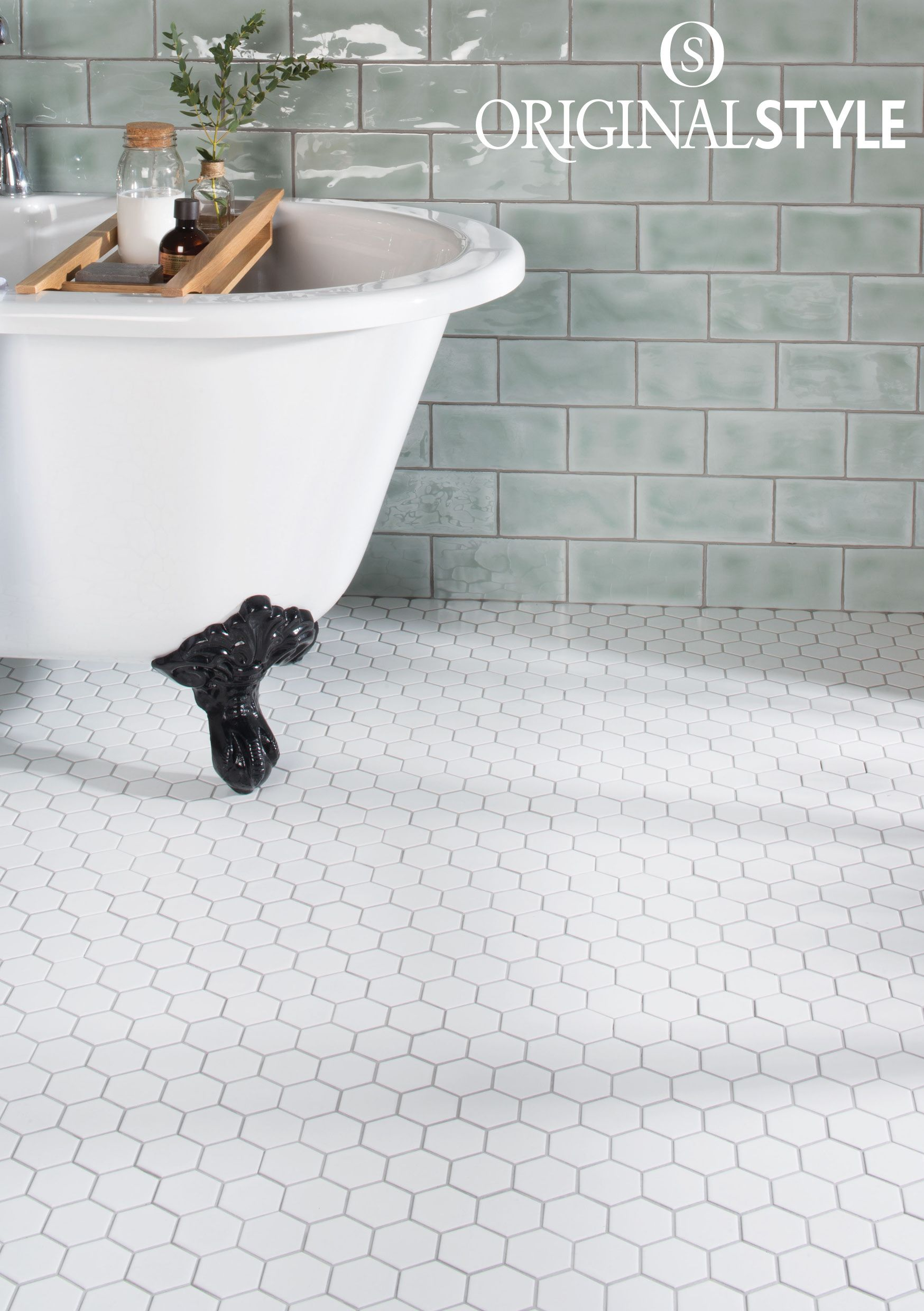 White Large Honeycomb Mosaic Tile Traditional Bathroom