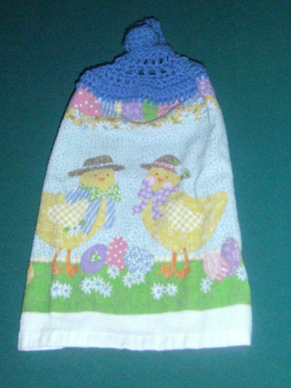 Crochet Top Easter Towel  Easter Chicks  by CarriesCraftStore