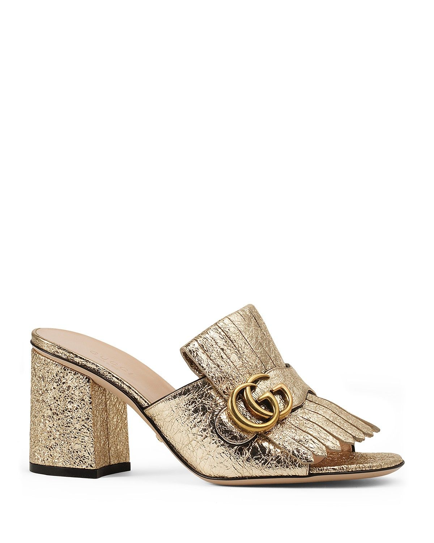 521cd1c90 Gucci Marmont Metallic Mid Heel Slide Sandals | Shopping List ...