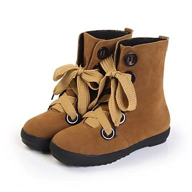 Women's Shoes Round Toe Low Heel Mid-Calf Boots with Lace-up More Colors