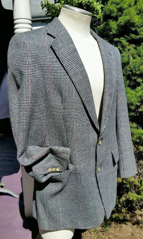 Men S Austin Reed Scotland Woven Check Houndstooth Sports Coat Jacket Pure Wool Austinreed Twobutton Sport Coat Jackets Blazers Sport Coats