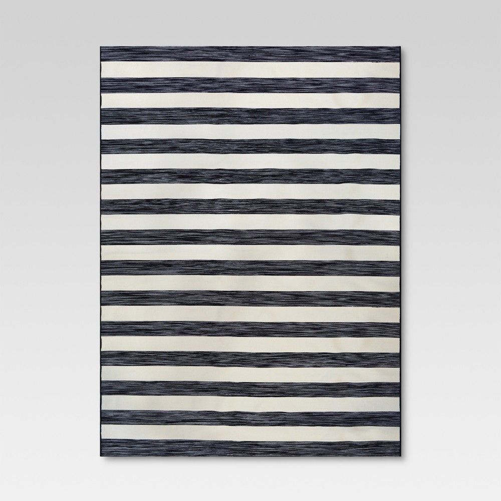 9 X 12 Outdoor Rug Worn Stripe Black Threshold Outdoor Rugs Rugs Patio Rugs