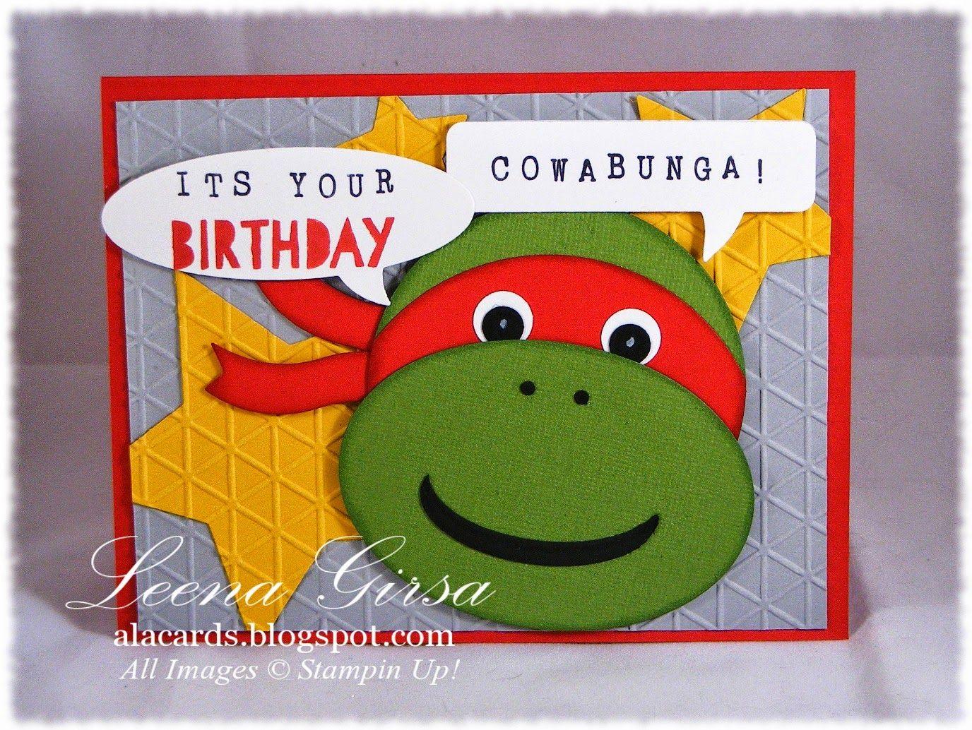 A La Cards Ninja Turtle Birthday Cricut Birthday Cards Kids Cards Birthday Cards For Boys