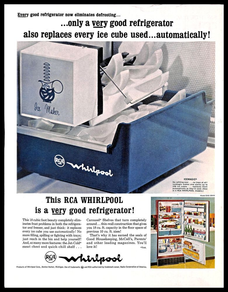 1963 RCA Whirlpool Refrigerator Vintage PRINT AD Ice Maker Kitchen Appliance