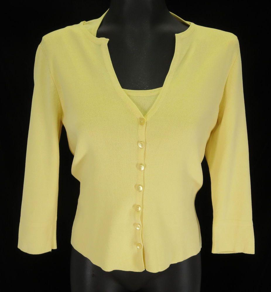 Talbots Petites Size S Yellow Rayon Knit Sweater Jumper V-Neck ...